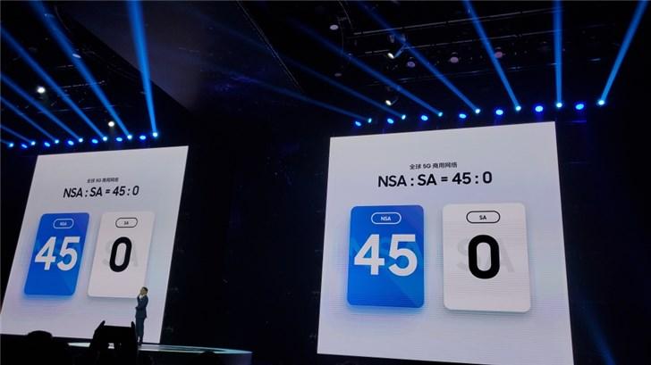 三星谈全球商用5G网络:目前NSA为45个,SA为0个